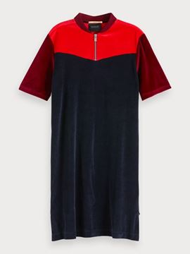 Bilde av Colour block velour sweat dress